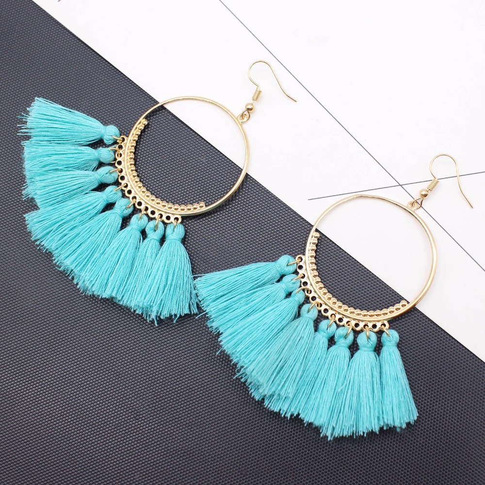19 Colors round dangling pendant Drop earrings woman fabric tassel earring ethnic bohemian fantasy fringed boucles d'oreille 3
