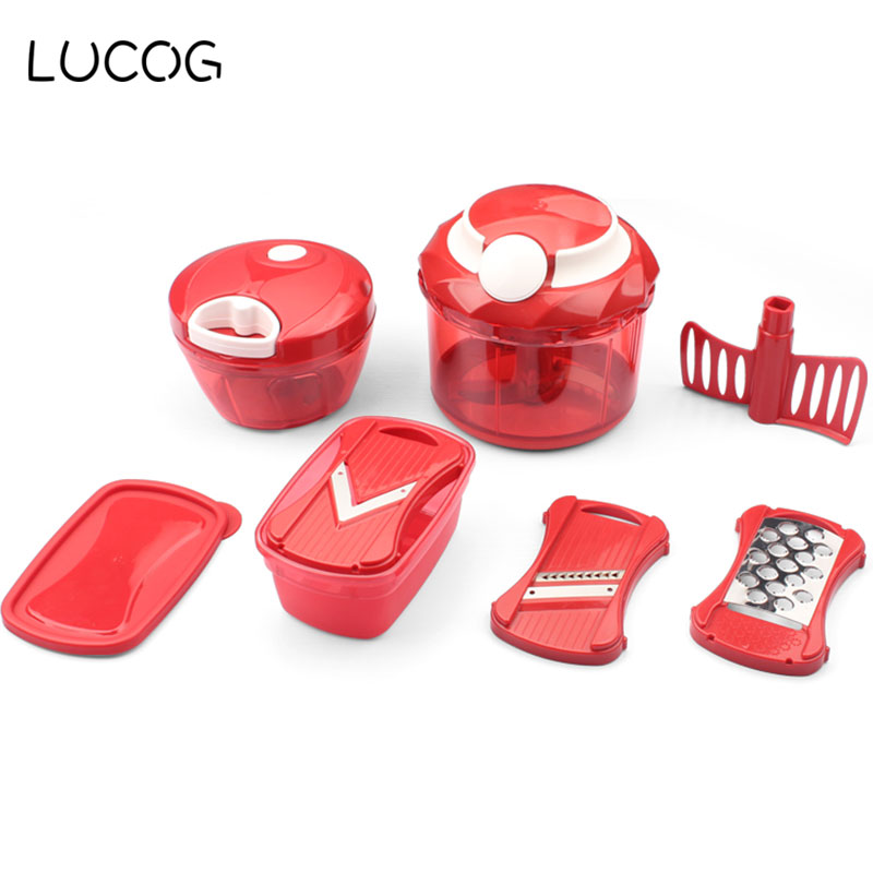 LUCOG Multifunctional Manual Meat Grinder Mincer Machine Set Food Processor Shred Slice Grinding Paste Handguards Kitchen Tools bear 220 v hand held electric blender multifunctional household grinding meat mincing juicer machine