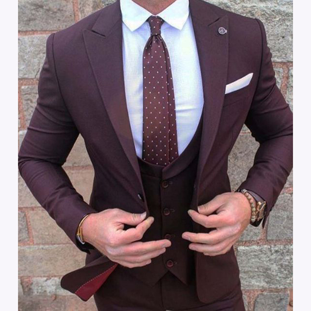 New Burgundy Groom Wear Tuxedos 3 Pieces Wedding Suits for men ...
