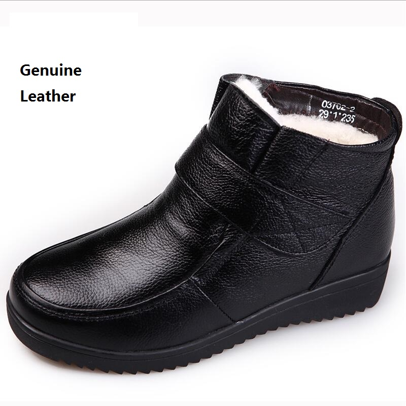 Genuine Leather winter mother flat shoes wool inside keep warm anti-skid elderly boots women middle - aged round toe short boots kelme 2016 new children sport running shoes football boots synthetic leather broken nail kids skid wearable shoes breathable 49