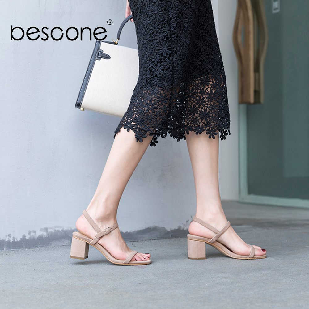 BESCONE Classic Sandals Ankle Strap Cow Leather Square Heels Leisure Sandals Comfortable Handmade Elegant New Summer