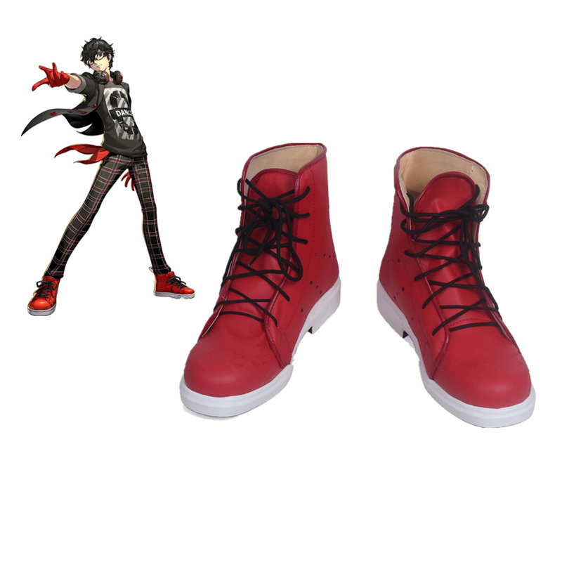 Persona 5 Joker Red Cosplay Shoes Custom Made Red Shoes For Halloween