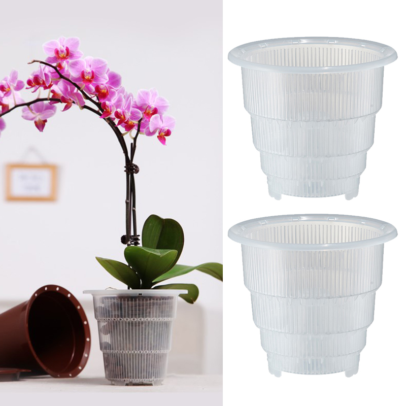Plastic Mesh Pot Orchid Flower Planter Container Home Gardening Decor MU