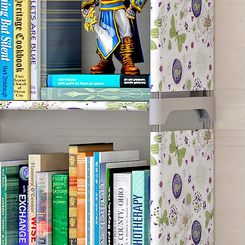 3 Grids Simple Cloth Book Shelf Creative Printing Home Decoration Childrens Bookcase a Small Library for Storage Books and Toys