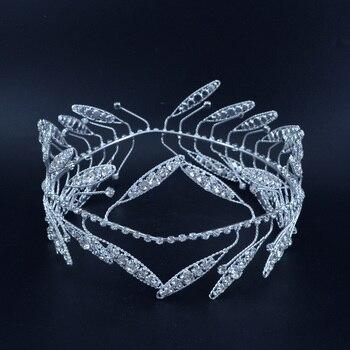 Greek Style Wreath King Queen Rhinestone Crowns Headband Tiaras Full Round Bridegroom Princess Hair Accessories Bridal Wedding недорого