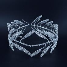 Griechischen Stil Kranz König Königin Strass Kronen Stirnband Diademe Volle Runde Bräutigam Prinzessin Haar Zubehör Braut Hochzeit