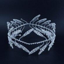 Yunan tarzı çelenk kral kraliçe Rhinestone kron kafa Tiaras tam yuvarlak damat prenses saç aksesuarları gelin düğün