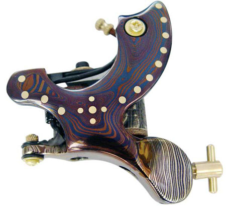 Professional Damascus Tattoo Machine 10-Wrap Coils Iron Cast Frame Custom Tattoo Gun For Liner Shader Free Shipping TM-421 professional handmade tattoo machine 10 wrap coils iron cast frame custom tattoo gun for liner shader free shipping tm 811