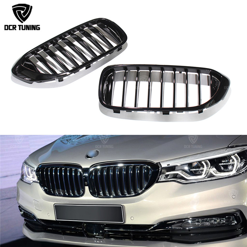 Single Slat Plastic Front Grille For BMW 5 Series G30 G38 2017 2018 UP Glossy Black Finish