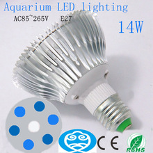 14W E27 Aquarium LED Shoot Lights Bulb, Coral Grow, Water Plant Growth Lamps, 6 Blue & 1 White