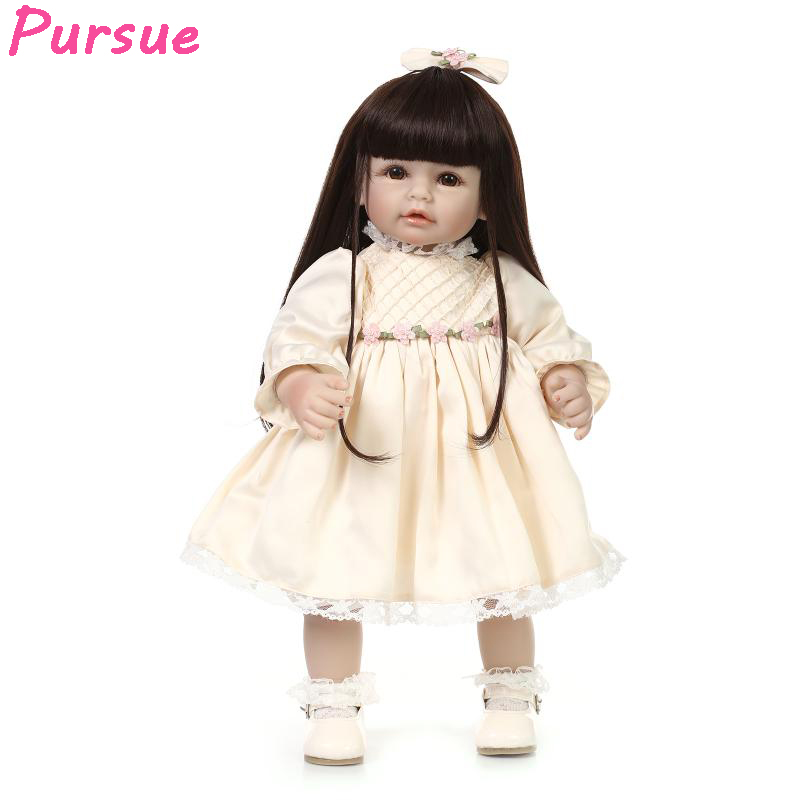 Pursue 20 inch 50cm Doll BJD American Girl Doll Long Black Hair Yellow bjd Princess Doll for Girls Boys Mini Baby Alive Doll BJD pursue 18 inch hot naked american girl