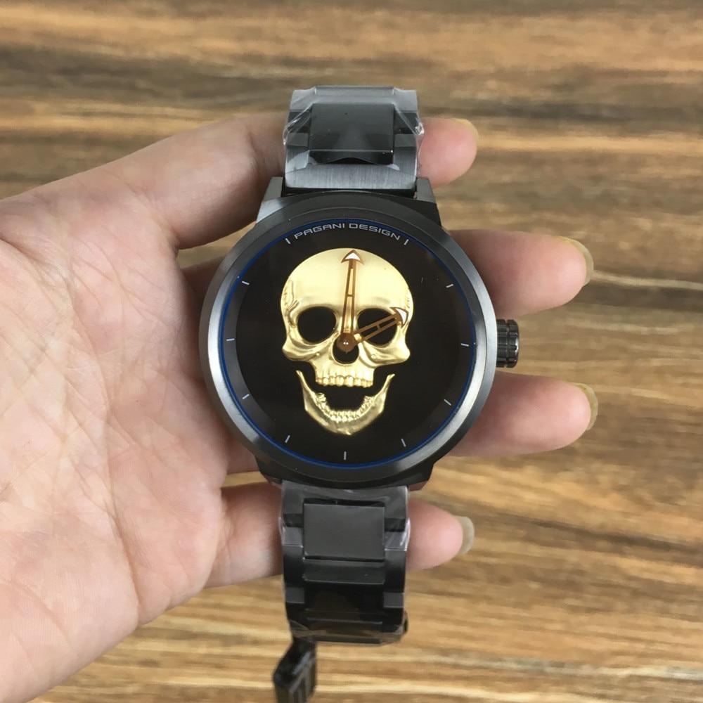 Мужские Кварцевые часы Pagani дизайн личности панк 3D череп Ретро мужские часы Скелетон спортивные Часы наручные часы relogio мужчина для