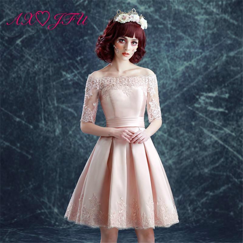 AXJFU bride pink lace short   evening     Dresses   princess dinner flower lace boat neck   evening     Dresses   luxury pink   evening     dress