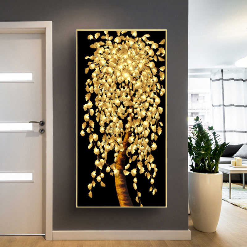 Abstract Golden Leaves and Money Tree Oil Painting on Canvas Posters and Prints Wall Art Pictures for Living Room Cuadros Decor
