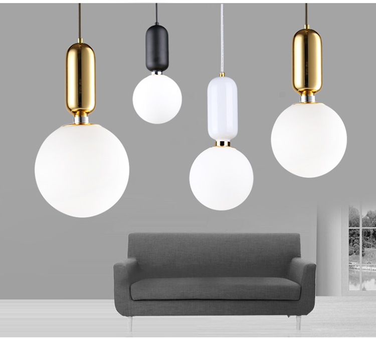 Post modern glass ball led pendant lamp vintage pendant light frosted glass ball hanging light white/ black/gold