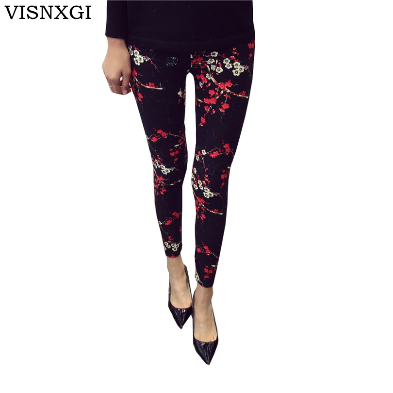 New 2018 Print Flower Leggings Leggins Plus Size Legins Guits