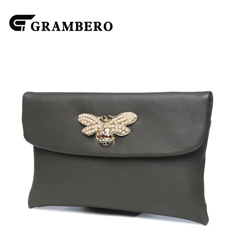 Fashion Soft Top Leather Women Clutch Wallet Animal Decoration Cover Solid Color Shoulder Bags Genuine Leather Crossbody Bag casual solid color top leather shoulder bag heart shaped decoration cover fashion women clutch wallet crossbody messenger bag