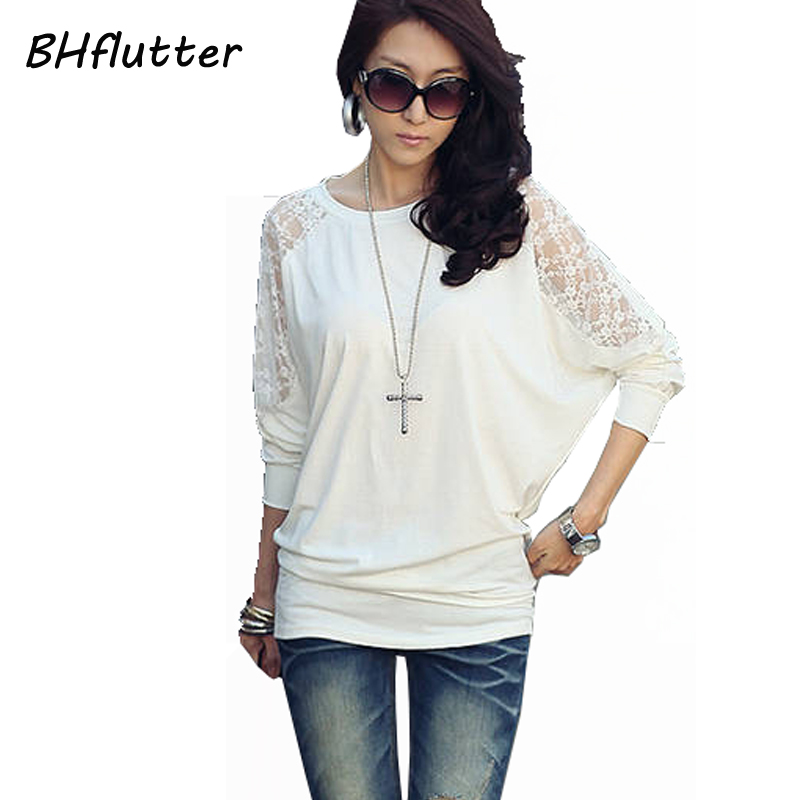 BHflutter Pull Femme 2017 Sweater Women Long Sleeve Sexy Lace Tops Batwing Casual Loose Pullover Women's Sweater And Pullovers
