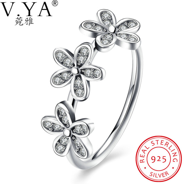 V.Ya  2017 Real 100% 925 Sterling Silver Rings for Women Dazzling Daisy Stackable Finger Rings Original  Bijoux Flower Jewelry