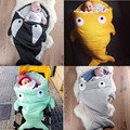 Envelope Newborns Baby Cartoon Shark Sleeping Bag For Winter Strollers Bed Swaddle Blanket Wrap Cute Bedding Sleep sacks