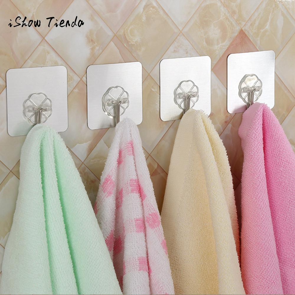 10pcs Adhesive Wall Hooks Reusable Duty Sticky For Kitchen Bathroom Organizer Multi Purpose Towel Key Coat Hat Hanger In Rails From Home