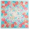 90 см * 90 см Марка Женщины моды весна цветок печатных большой площади атласный шарф новый
