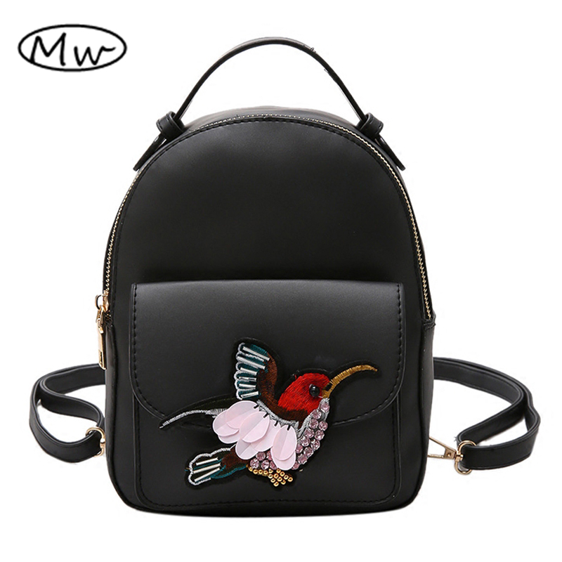Moon Wood Women Mini Backpack PU Leather 2017 Newest Embroidered Bird Backpack For Teenager Girls Double
