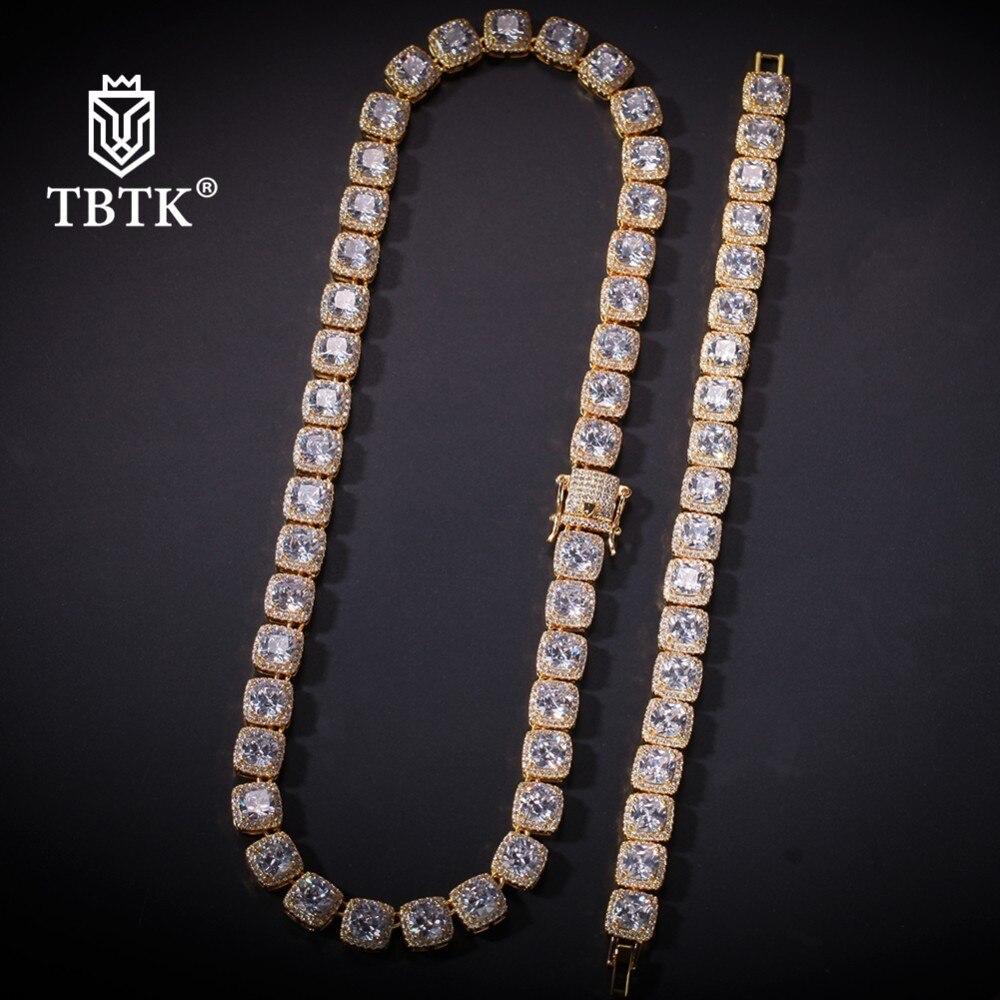 TBTK Bling beau ensemble de bijoux collier et Bracelet carré glacé Zircon pierre à la mode bijoux de luxe pour homme Style lourd
