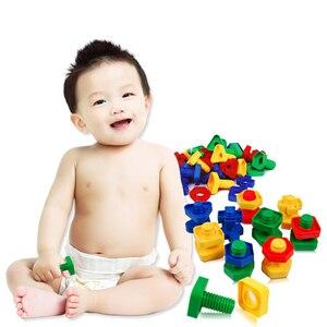 Image 2 - 5 セットベビー 3D パズル子供建物のパズルのおもちゃゲーム子供のため 3 年知育玩具心構築ねじナットセットモンテッソーリ