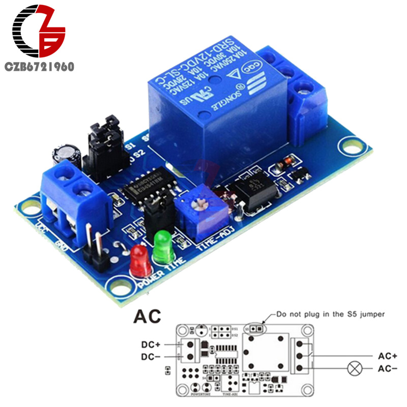 DC 12V Time Relay Module Normal Open Time Delay Relay Timing Timer Relay Control Switch Adjustable Potentiometer LED Indicator цена