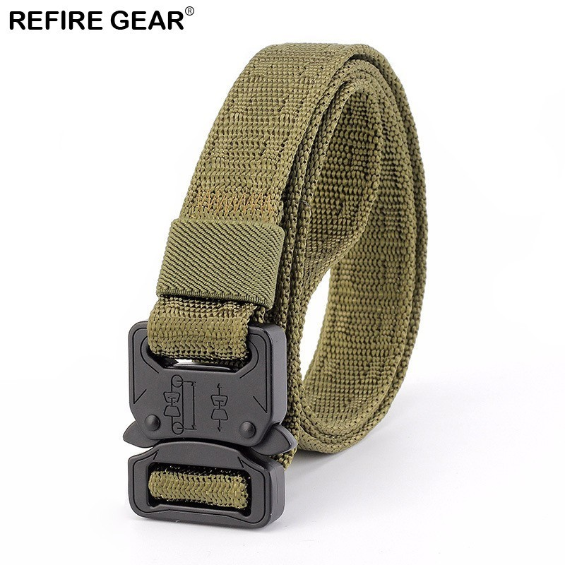 Refire Gear Outdoor Quick Release Tactical Canvas Belts Men Adjustable Metal Buckle Hunting Belts Camping Hiking Strap Belt