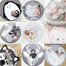 90 cm ins 아기 놀이 매트 크롤링 카펫 동물 라운드 층 깔개 아기 담요 면화 게임 패드 어린이 방 장식