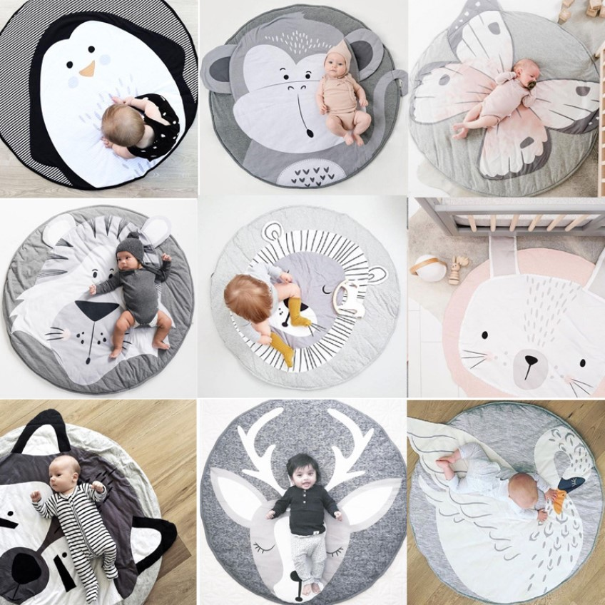 90CM INS Baby Play Mats Crawling Carpet Animal Round Floor Rugs For Kids Baby Blanket Cotton Game Pads Children Room Decor