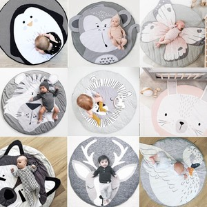 Image 1 - 90CM INS Baby Play Mats Crawling Carpet Animal Round Floor Rugs for Kids Baby Blanket Cotton Game Pads Children Room Decor