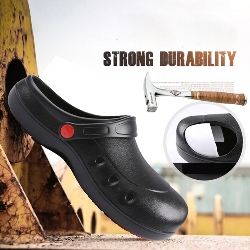 Black Anti-collision Steel Head Chef Shoes Cook Slippers Non-slip Waterproof Oil-proof Hotel Restaurant Kitchen Work Shoes
