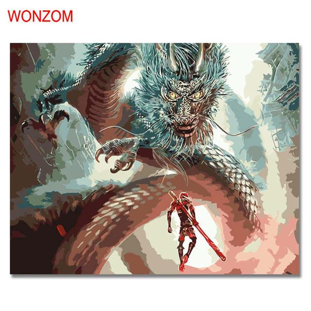 Wonzom Pria Menghadapi Naga Minyak Lukisan Dengan Angka Digital Diy Gambar Mewarnai Dengan Angka Di Atas Kanvas Unik Hadiah Rumah Dekorasi