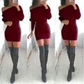 New Arrival Fashion Women Dress Package Hip Sexy Strapless Long Sleeve Fashion Bat Sleeve Tight Women Clothing