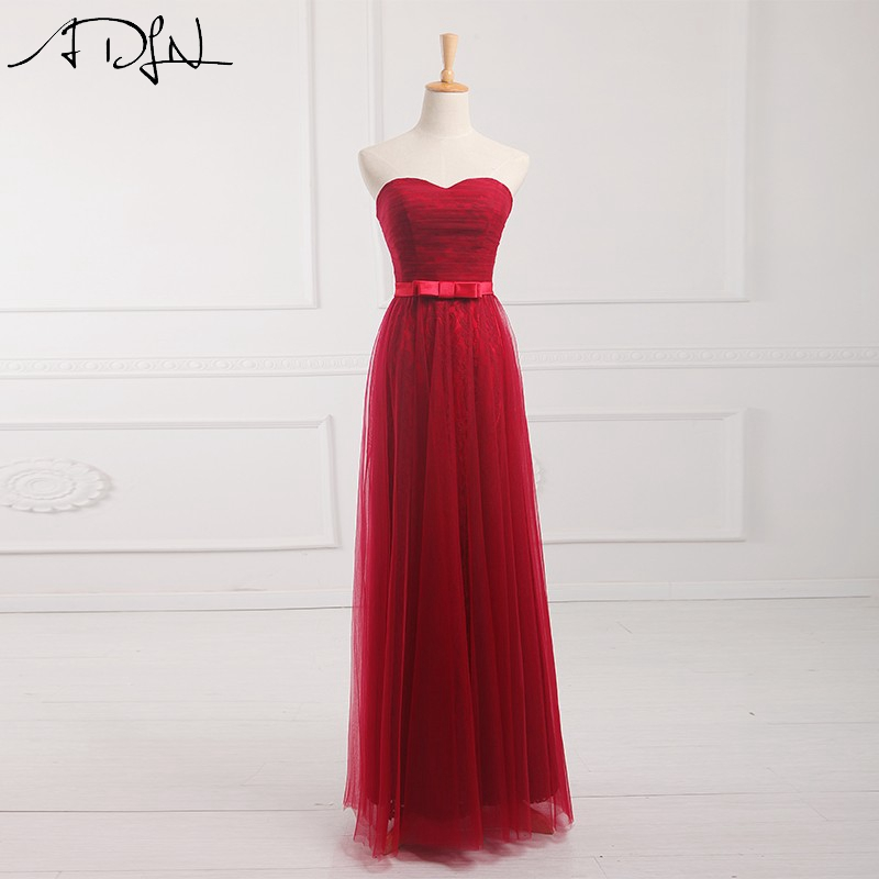 ADLN Elegant   Bridesmaid     Dresses   Long Sweetheart Tulle A-line Red Lace Party Gowns Long Maid of Honor   Dress   with Lace-up