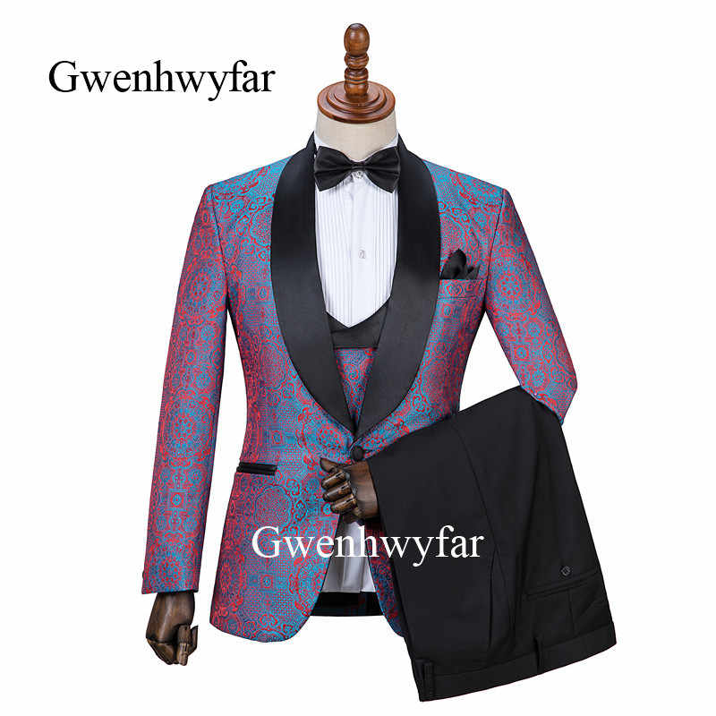 Gwenhwyfar Wedding Men Suits 2019 New Designs Gentleman Shawl Lapel Slim Fit Red Lake Blue Flower Party Groom Tuxedo For Men