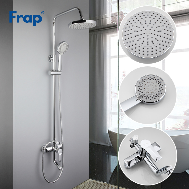 Frap bathroom shower faucet set bathtub faucets shower mixer tap Bath Shower taps waterfall shower head wall mixer torneiraF2418