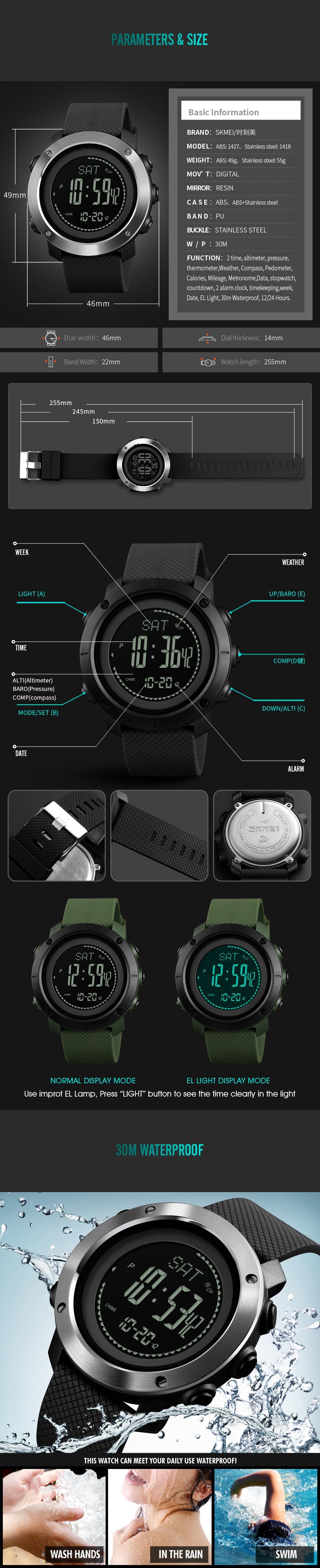 SKMEI Altimeter Barometer Thermometer Altitude Men Digital Watches Sports Clock Climbing Hiking Wristwatch Montre Homme 1418 10