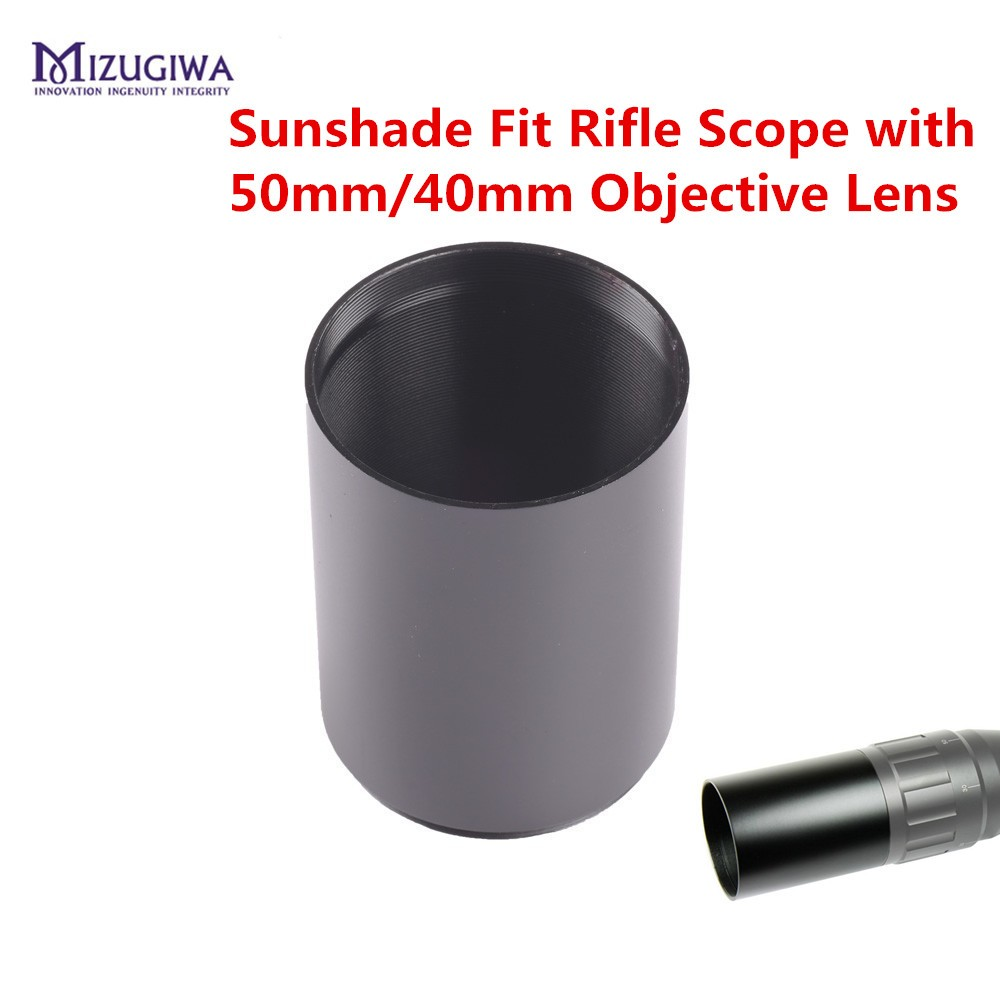 MIZUGIWA Alloy Sunshade Tube Shade Fit Rifle Scope With 40mm / 50mm Objective Lens Scope Sun Shade Pistol Airsoft Caza