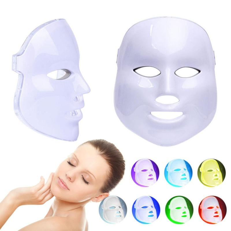Face Mask Massager Electric 7 Colors LED Photon Light Face Massager USB Charging Anti-aging Promote Skin Cells Face Makeup B4