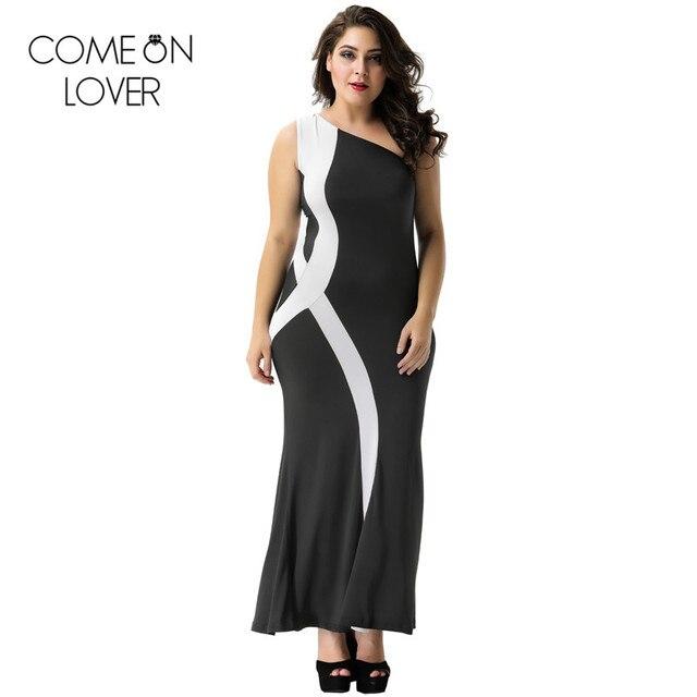 0bbee8f1c7 Comeonlover Branco preto de um ombro plus size vestido longo tornozelo  comprimento irrigular pescoço senhoras vestidos