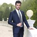 Envío rápido hombres traje de boda 2015 tela escocesa de negocios terno de tres piezas traje de hombre novio trajes de boda vestidos de festa