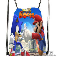 Custom Sonic-The-Hedgehog-  Drawstring Backpack Bag Cute Daypack Kids Satchel (Black Back) 31x40cm#2018611-2(14)