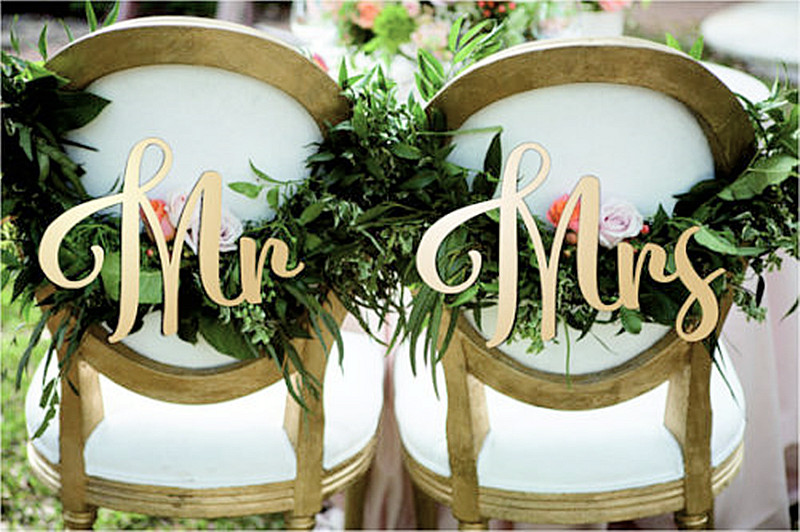 Wood Mr and Mrs Wedding Chair signs for Wedding Decoration Wooden Letters 2pcs/lot