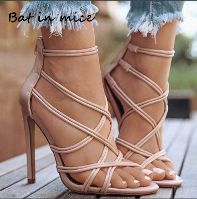 Casual Heels Women Pumps Shoes Office Lady Peep Toe Flock Sexy Multi-Strap Zipper High Heels 11cm Wedding Party shoes Mujer W131 2016 spring high heels women glatiador shoes sex party pumps office lady plain peep toe valentine shoes