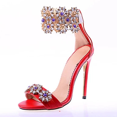 Sandals With Rhinestones Women Red Color Hollow Out Ankle Buckle Strap Sandals Crystal Decoration High Thin Heel Party Shoes fashionable women s sandals with hollow out and chunky heel design