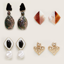 New Fashion Pearl Heart Drop Earring For Women vintage Geometric Acrylic Resin Statement Dangle Earring Abalone Shell Jewelry Za